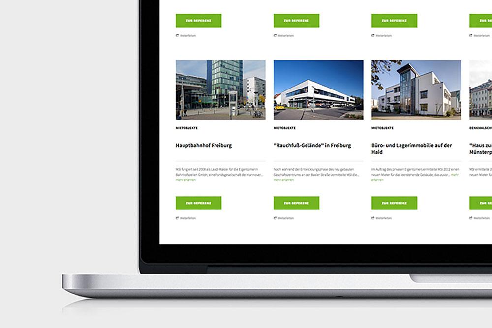 Screenshot MSI Gewerbeimmobilien Corporate Website